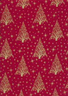 "John Louden Christmas Collection - 60"" Wide Christmas Trees Red/Gold"