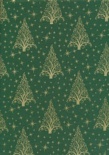 "John Louden Christmas Collection - 60"" Wide Christmas Trees Green/Gold"