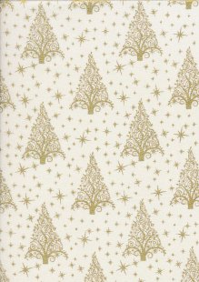 "John Louden Christmas Collection - 60"" Wide Christmas Trees White/Gold"