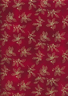 John Louden Christmas Collection - Gold Holly on Red