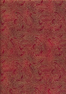 John Louden Christmas Collection - Gold Paisley on Red