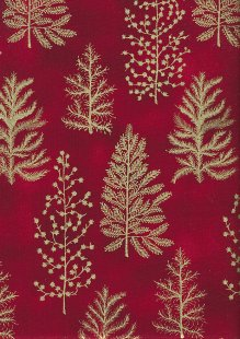 John Louden Christmas Collection - Gold Ferns on Red