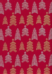 John Louden Christmas Collection - Gold and Silver Trees on Red