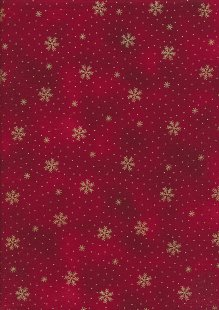 John Louden Christmas Collection - Gold Snowflakes on Red
