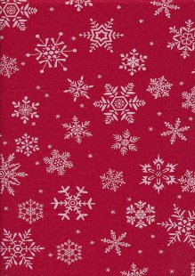 John Louden Christmas Collection - White Snowflakes on Sparkle Red