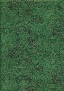 John Louden Christmas Collection - Gold Paisley on Green