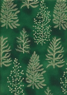 John Louden Christmas Collection - Gold Fern on Green