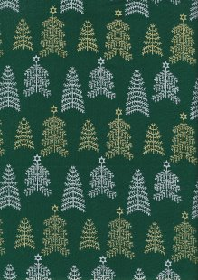John Louden Christmas Collection - Gold and Silver Trees on Green