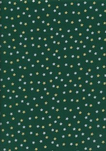 John Louden Christmas Collection - Gold and Silver Stars on Green