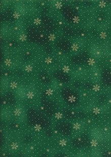 John Louden Christmas Collection - Gold Snowflake on Green