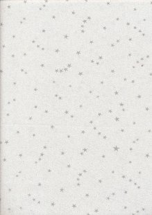 John Louden Christmas Collection - Silver Stars on White Sparkle