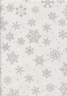 John Louden Christmas Collection - Silver Snowflake on Sparkle Ivory