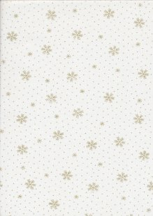 John Louden Christmas Collection - Gold Snowflakes on Ivory