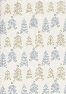 John Louden Christmas Collection - Gold and Silver Trees on Ivory