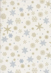 John Louden Christmas Collection - Gold and Silver Snowflakes on Ivory