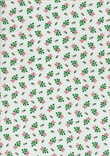 John Louden Christmas Collection - Small Green Holly on White