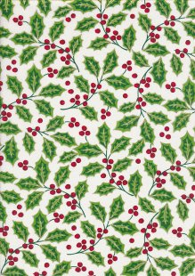 John Louden Christmas Collection - Large Green Holly on White
