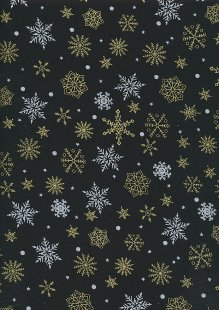 John Louden Christmas Collection - Gold and Silver Snowflakes on Black