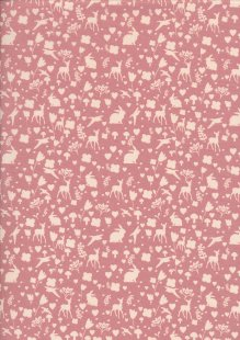 Quality Cotton Print - Birds, Bunnies, Deer, Hearts & Flowers Silhouette Pink
