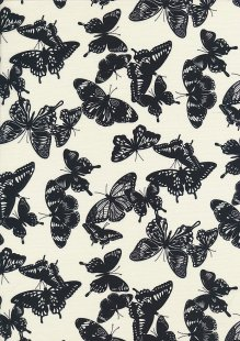 Quality Cotton Print - Butterfly Silhouette Ivory