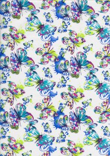 Quality Cotton Print - Bright Butterfly White