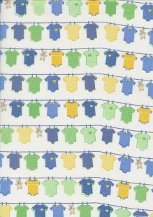 John Louden Organic Cotton Prints - Newborn Baby Range Vest JL CO 386 Col Blue