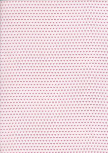 John Louden Organic Cotton Prints - Newborn Baby Range Hearts JL CO 387 Col Pink