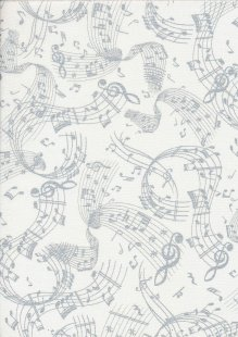 Kanvas Studio - Musical Moments Musical Swirl White/Silver 7729 col 9