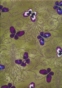 Kanvas Studio - Pansy Noir Pansy Butterfly Scroll 8478-M-49 Olive