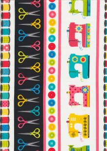 Kanvas Studio - Sew Excited Stripe Border Print 7828 col 99