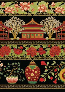 Leesa Chandler - Summer Palace Border Black/Red 0018-13