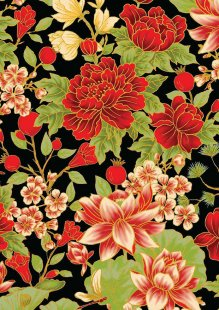 Leesa Chandler - Summer Palace Floral Black/Red 0021-13