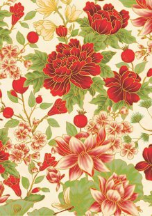 Leesa Chandler - Summer Palace Floral Ivory/Red 0021-1