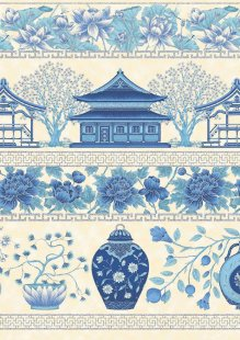 Leesa Chandler - Summer Palace Border Ivory/Blue 0018-12