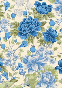 Leesa Chandler - Summer Palace Floral Ivory/Blue 0021-24