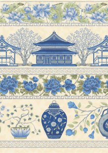 Leesa Chandler - Summer Palace Border Blue/Green 0018-24