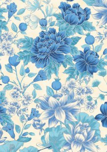 Leesa Chandler - Summer Palace Floral Ivory/Blue 0021-12