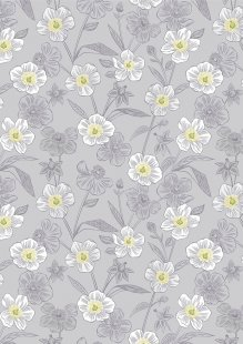 Lewis & Irene - Botanic Garden A455.2 Rambling floral on lightest grey