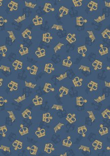 Lewis & Irene - Britannia A346.2 Metallic gold crowns on dark blue