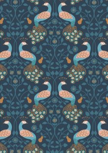 Lewis & Irene - Chieveley A245.3 - Peacock & Pear On Dark Blue