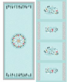 Lewis & Irene - Christmas Panels C40.3 - Snow day table centre & placemats silver