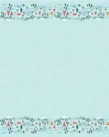 Lewis & Irene - Christmas Panels C41.3 - Snow day double border icy blue