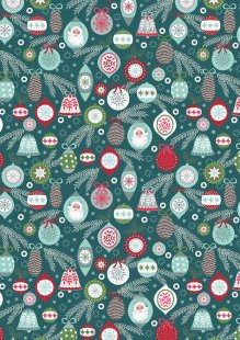 Lewis & Irene - Christmas Trees C56.3 Baubles on winter blue
