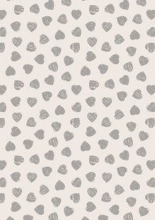 Lewis & Irene - Dove House A168.2 - Grey hearts on light cream