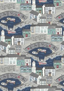 Lewis & Irene - Harbour Side A175.3 - Harbour with navy blue sea