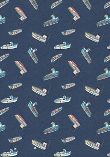 Lewis & Irene - Harbour Side A178.3 - Fishing boats on navy blue