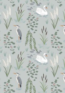 Lewis & Irene - Down By The River A220.1 - Swan And Heron On Light Grey
