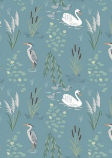 Lewis & Irene - Down By The River A220.2 - Swan And Heron On Teal