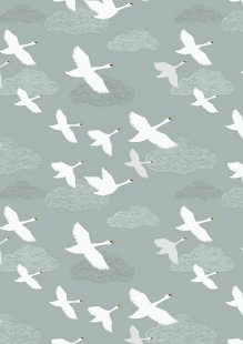 Lewis & Irene - Down By The River A221.1 - Swans In Flight On Pale Grey / Blue