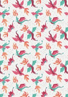 Lewis & Irene - Dragons A234.1 - Flying Dragons On Cream